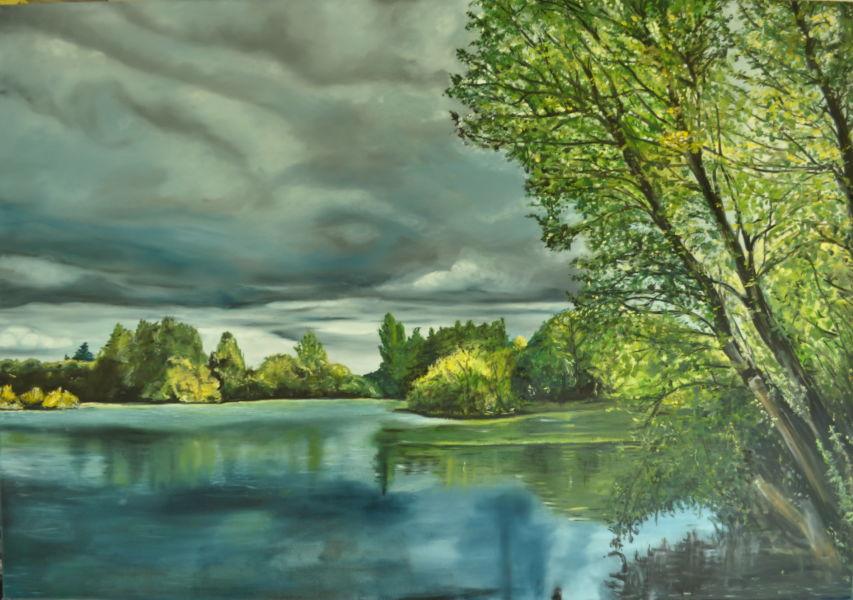 Seenlandschaft, Koldinger See, Gemälde